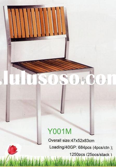 Y001M stainless steel and teak outdoors chair, patio furniture,garden,seaside,beach,pool sets,produc