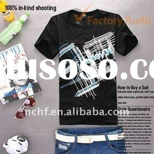 Young Men's trendy casual cotton t-shirts with fashion and cool print