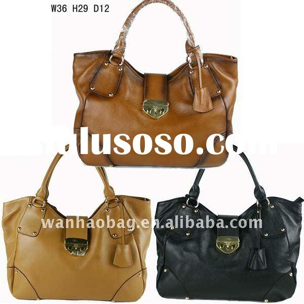 (In stock) 2012 fashion brand handbags, large shoulder bag lock hasp, Ladies pure leather shoulder b