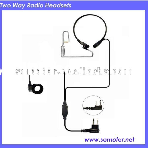 (throat mic)two way radio earphone with acoustic tube/throat activated earpiece