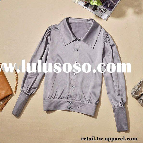 [zb0116] 3pcs/ a lot, color Grey fashion cuff satin fabric loose t shirt, women long sleeve blouse