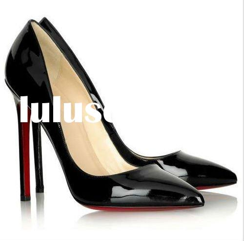 arrival black patent leather women high heel pumps