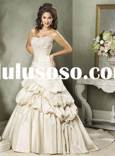 champagne colour latest wedding gown designs M78
