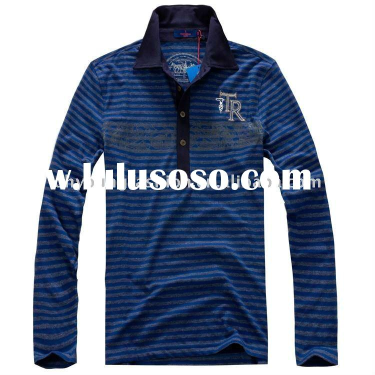 customized high quality men's 100%cotton stripe long sleeve polo shirt
