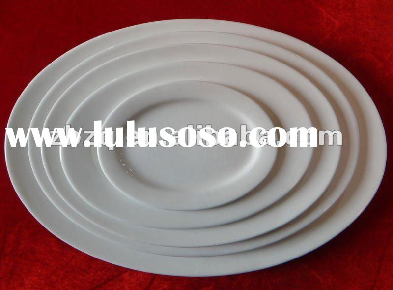 daily use white porcelain oval plate for hotel