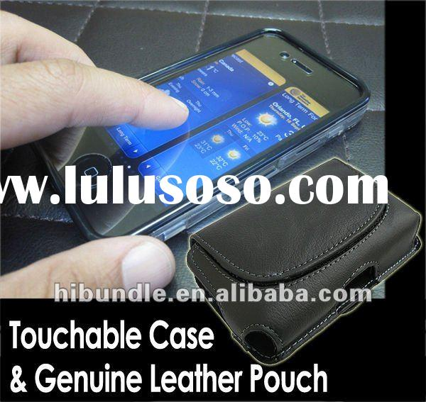 for iPhone 4 4S new case bundle (Touchable Crystal Case Genuine Leather Pouch)