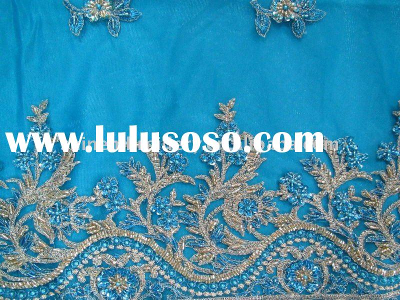 high quality polyester handwork embroidery designs for dress fabric