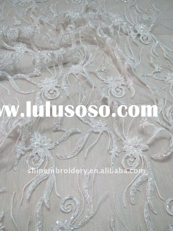 high quality white lace embroidery fabric design with handwork for weddings