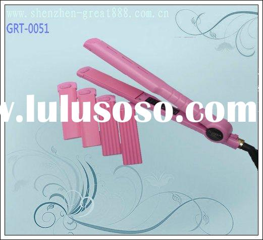 hot selling the latest professional interchangeable hair curler and electric straightening combs