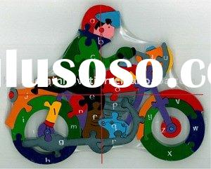 jigsaw puzzle in motorcycle shape(alphabet jigsaw puzzle, alphabet puzzle, 3D puzzle, alphabet learn