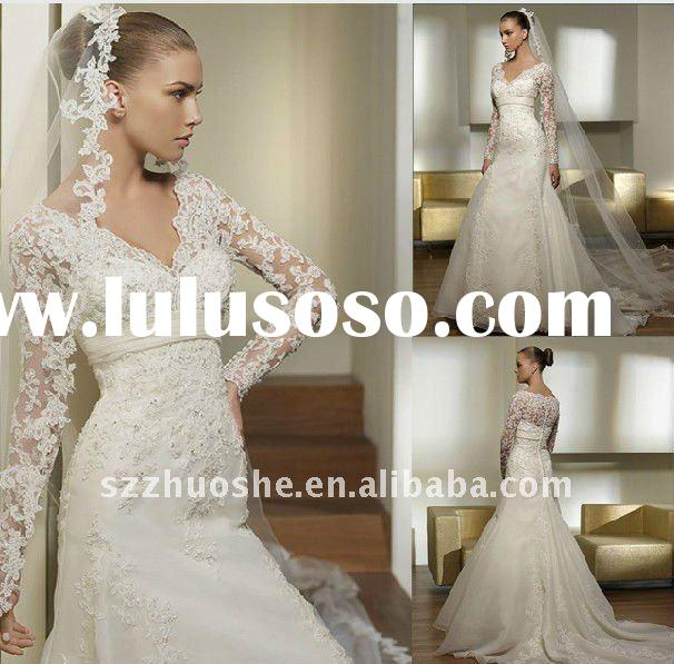 long sleeve lace wedding dresses JK1060