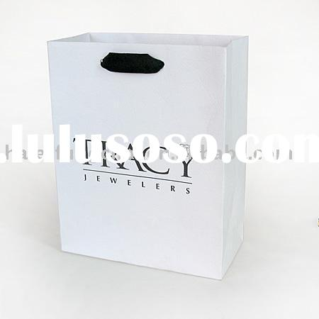 luxury shopping paper bag with ribbon handle