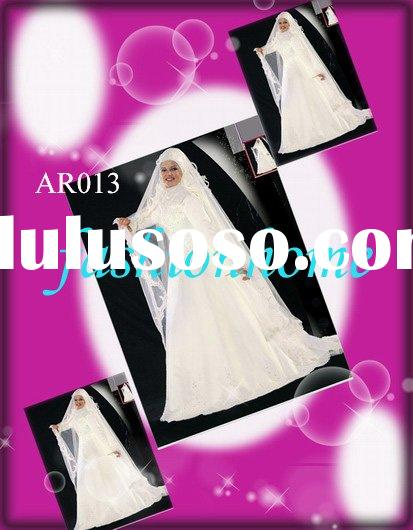 muslim wedding dress, Arabic wedding dress, Islamic wedding dress ,free veil plus size ivory AR013