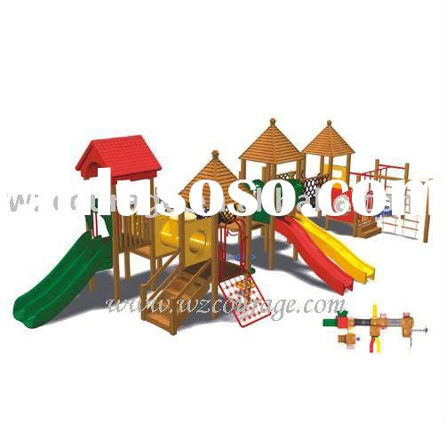 outdoor park playground wood slide for kids