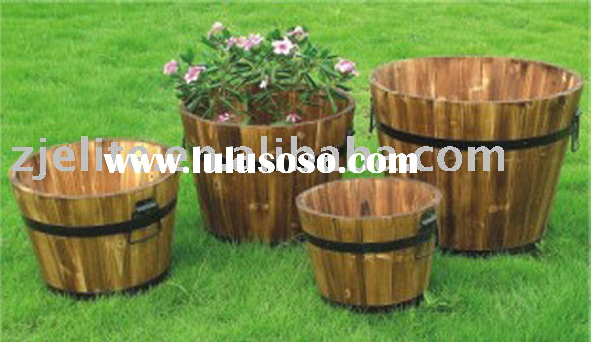 plts wooden barrel, wooden bucket, flower planter, wooden planter