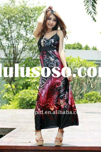plus size ladies fashion silk maxi dress from China factory