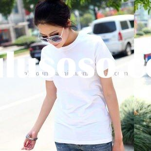 promotion pure cotton white blank plain womens 140gsm O neck short sleeve t-shirts