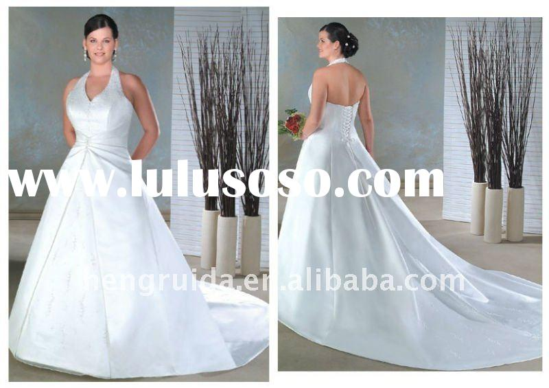 satin beade halter a line pleated waist with semi cathedral train lace up wedding dress XU0237