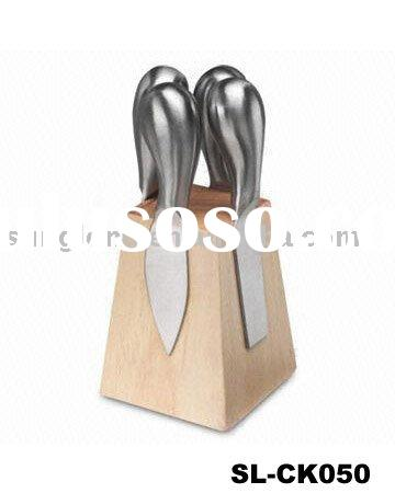 stainless steel cheese knife with wooden stand set