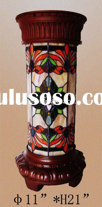 tiffany lamp,telephone table lamp,stained glass furniture,round pillar lamp