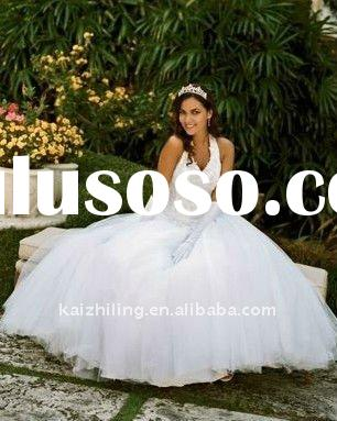 v-neck big ball gown lace aplique organza wedding dress 2011 hot sell