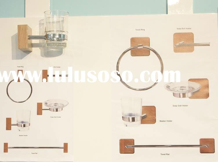 wall mounted bathroom accessories in wood and chrome plated metal tube