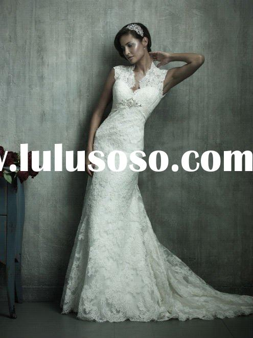 wholesale best selling lace sleeveless short train a line wedding dresses