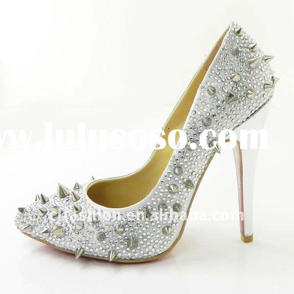 women's high heel shoes/ crystal high heel shoes fashion brand /double platform crystal shoe