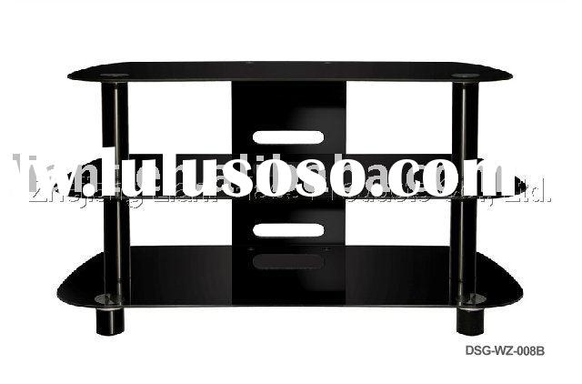 wooden & tempered black painted glass tv stand,clear float glass
