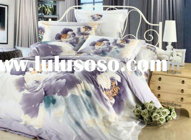 100% cotton reactive print bedding set king size bed sheet