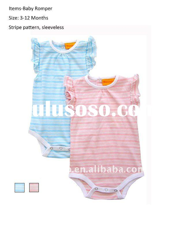 100% cotton stripes pattern baby clothes with short sleeve