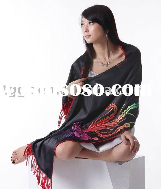 100% silk shawl with hand embroidery