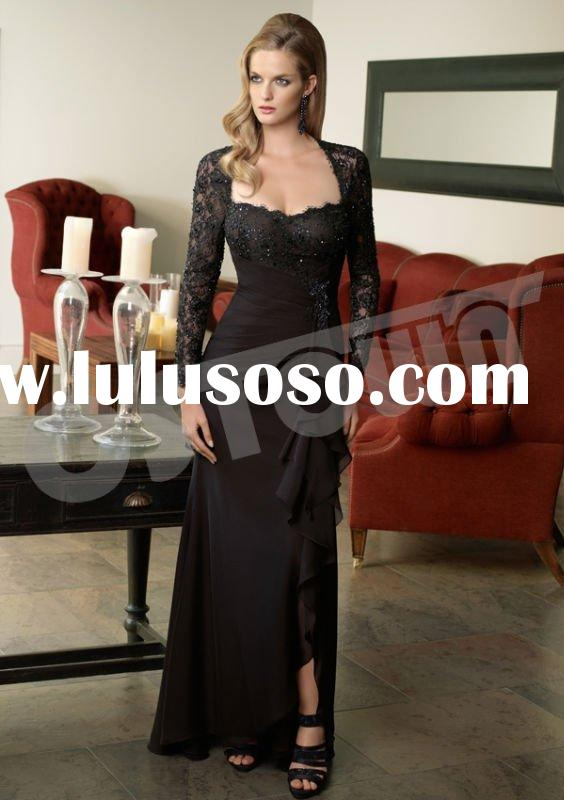 2011 Black Chiffon Long Sleeve Floor Length Evening Dress with Lace