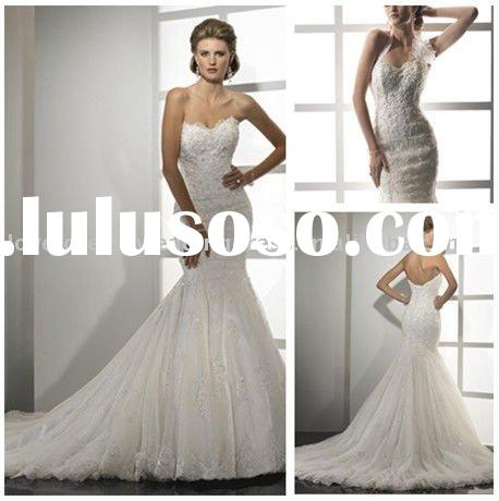 2011 Modest Mermaid Style Lace Wedding Dresses Canada