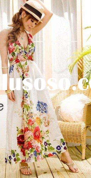 2011 NEW ARRIVED, FLOWERY BEACHWEAR PRINT COTTON LONG DRESS FASHION LONG DRESS FLOWERY LONG DRESS