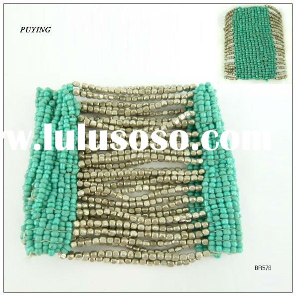 2011 Wide Indian Ethnic Trend Mixed Green & Silver Alloy Bracelet, Fashion Jewelry