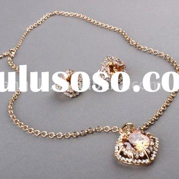 2011 fashion copper alloy zircon jewelry sets necklace and earring sets