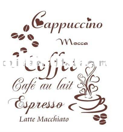 2011 highly recommend adhesive coffee wall sticker home decor JF-0184