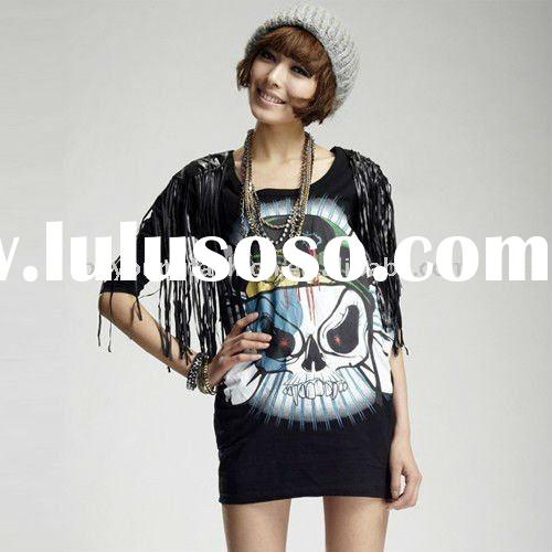 2011 hotselling girl's cotton and spandex punk lengthening half sleeve t shirt with printing