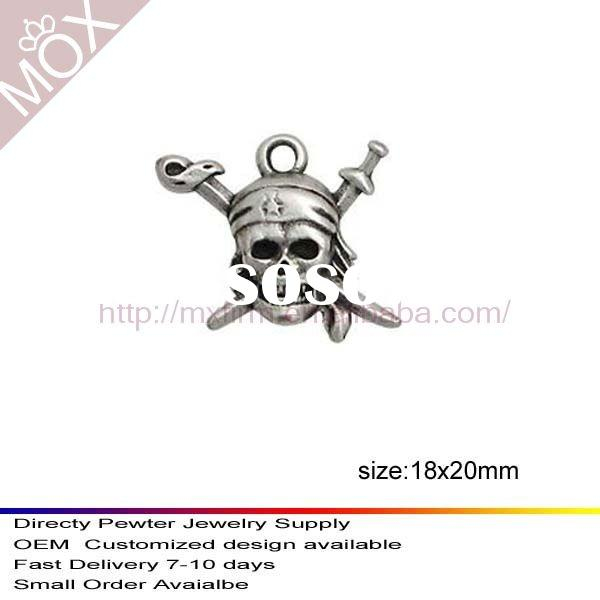 2011 pirate skull charms pewter direct sale from china pewter charm factory
