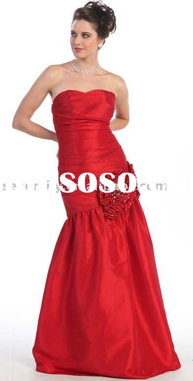 2012 New Red Taffeta Strapless Mermaid Style Prom Dresses