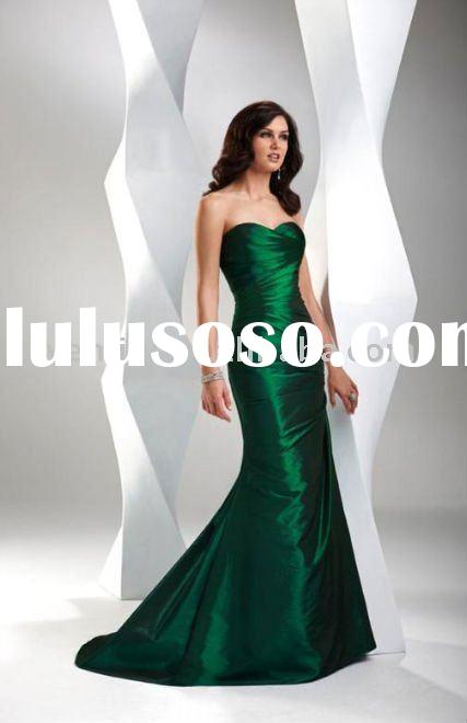 2012 New Style Strapless Mermaid Style Emerald Green Prom Dresses