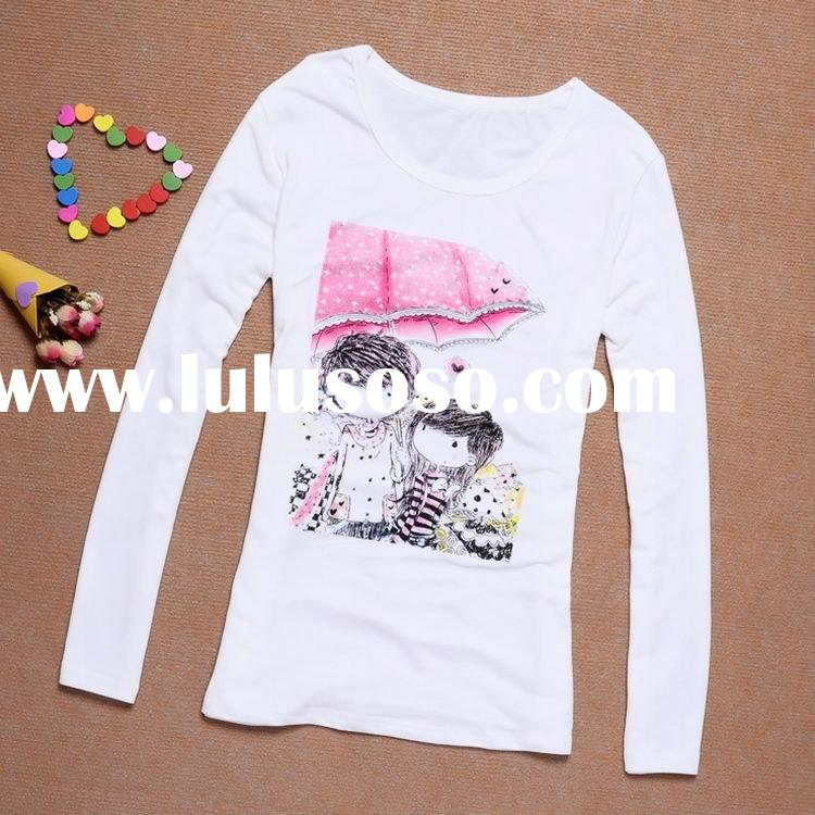 2012 fashion cotton printing long sleeve t-shirt in autumn