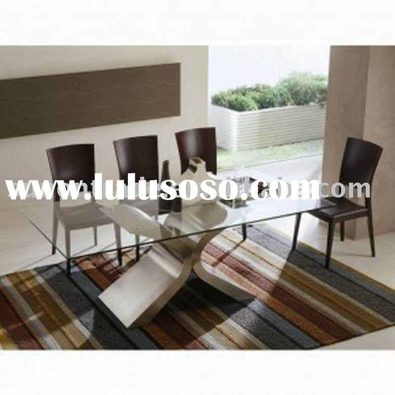 2012 model glass dining table designs with wooden legs DT-5082