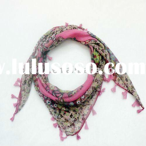 2012latest new fashion flower printed lady scarf 100%voile