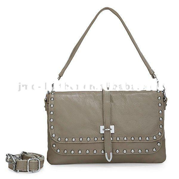 3136U Hardware Beautify Design 100% Real Leather Lady Khaki Shoulder Bag Handbag Purse