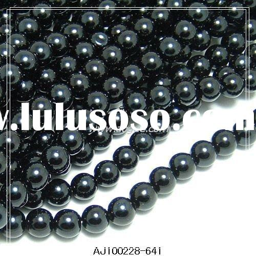 3mm black imitation glass pearl beads