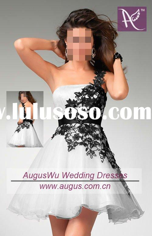AHB079 2011 Hot Sale Cheap Black And White Short Prom Dresses
