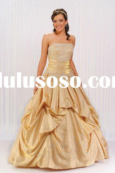 A line Strapless Floor Length Satin Ball Gown Prom Dress With Embroidery