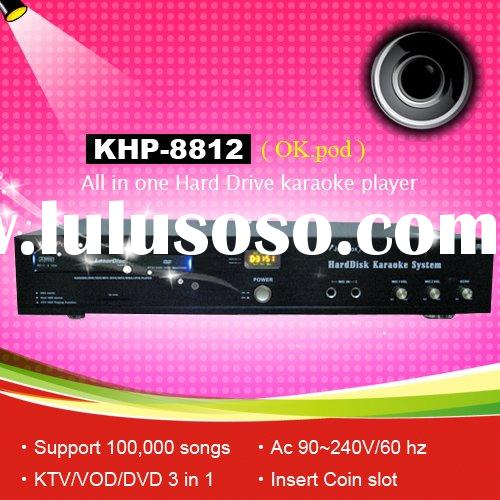 All-in-one Hard device KTV player ,Support VOB/DAT/AVI/MPG/CDG/MP3+G songs ,DVD-ROM ,Multilingual ME
